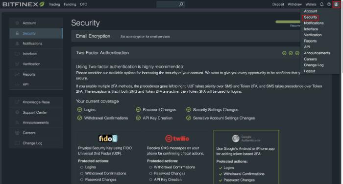 Bitfinex Sicherheitseinstellungen anpassen